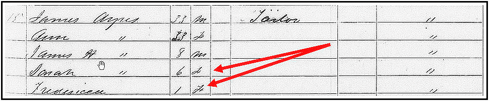 1850 Census listing for the James Ayres family