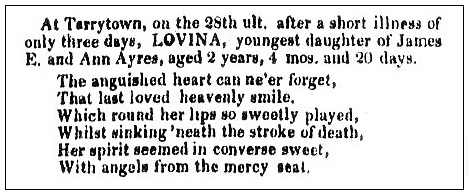 An obituary for Lovina Ayres, Hudson River Chronicle newspaper article 12 December 1848