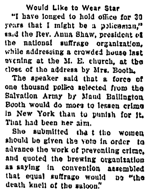 An article about Anna Shaw, Aberdeen American newspaper article 29 October 1910