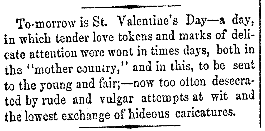 An article about Valentine's Day, Alexandria Gazette newspaper article 13 February 1863
