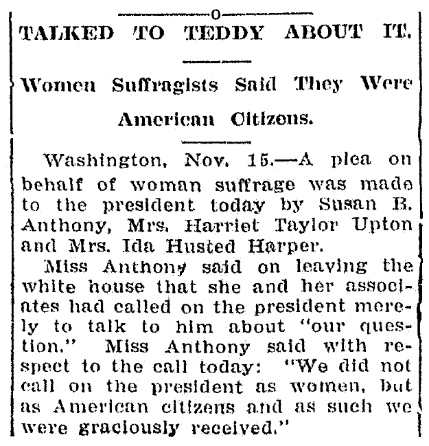 An article about Susan B. Anthony, Bay City Daily Tribune newspaper article 16 November 1905