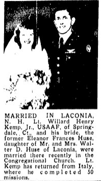 An article about the wedding of Willard Kemp and Eleanor Huse, Boston Herald newspaper article 18 February 1945