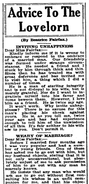 """A newspaper advice column by """"Beatrice Fairfax,"""" Bridgeport Evening Farmer newspaper article 27 December 1920"""