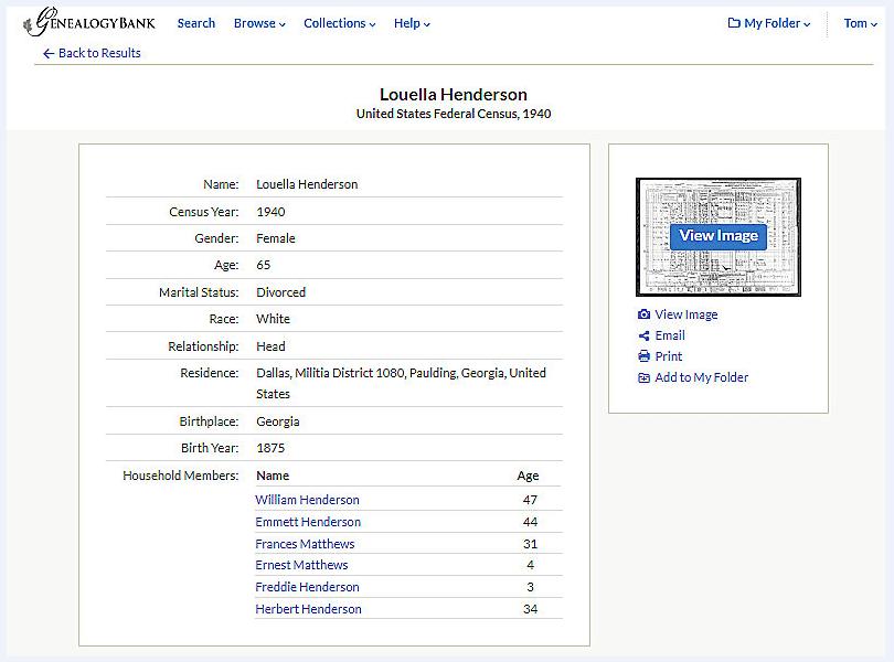 The 1940 U.S. Census record for Louella Henderson