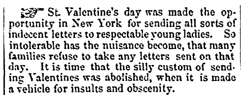 An article about Valentine's Day, Columbian Register newspaper article 10 March 1860