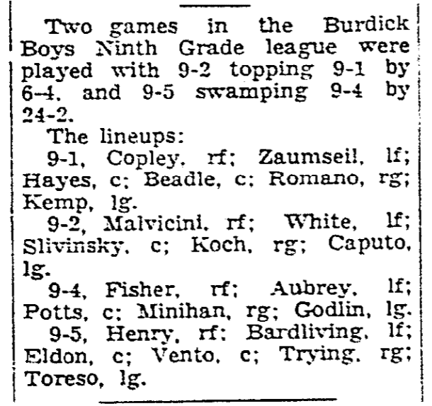 An article about boys basketball, Daily Advocate newspaper article 12 January 1938