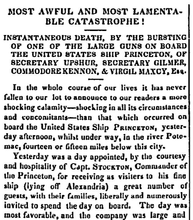 An article about the disaster on board the USS Princeton, Daily National Intelligencer newspaper article 29 February 1844