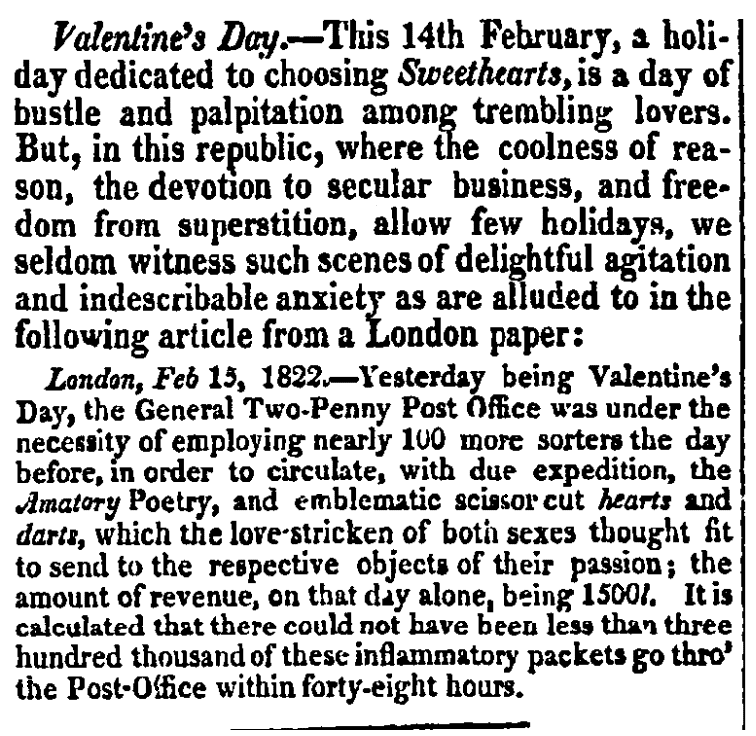An article about Valentine's Day, Daily National Intelligencer newspaper article 25 March 1823
