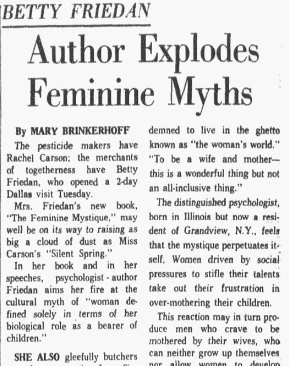 An article about Betty Friedan, Dallas Morning News newspaper article 30 October 1963