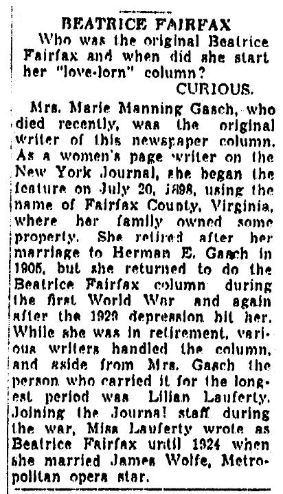 "An article about the very first newspaper advice columnist, ""Beatrice Fairfax,"" Detroit News newspaper article 21 December 1945"