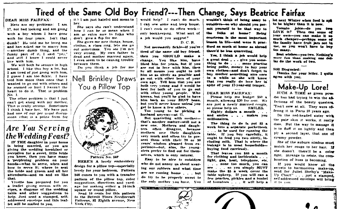 """A newspaper advice column by """"Beatrice Fairfax,"""" Detroit Times newspaper article 17 July 1934"""