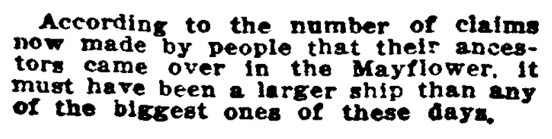 A genealogy joke, El Paso Herald-Post newspaper article 13 January 1912