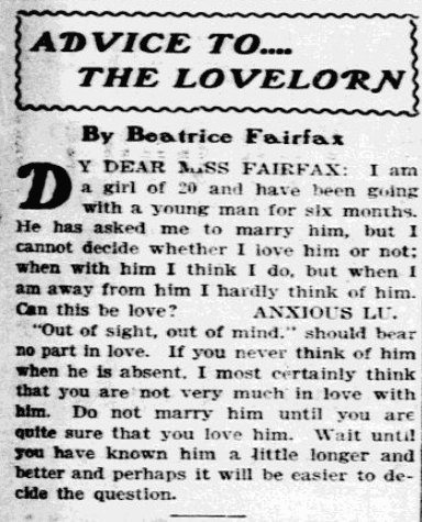 """A newspaper advice column by """"Beatrice Fairfax,"""" Fort Worth Star-Telegram newspaper article 3 May 1903"""