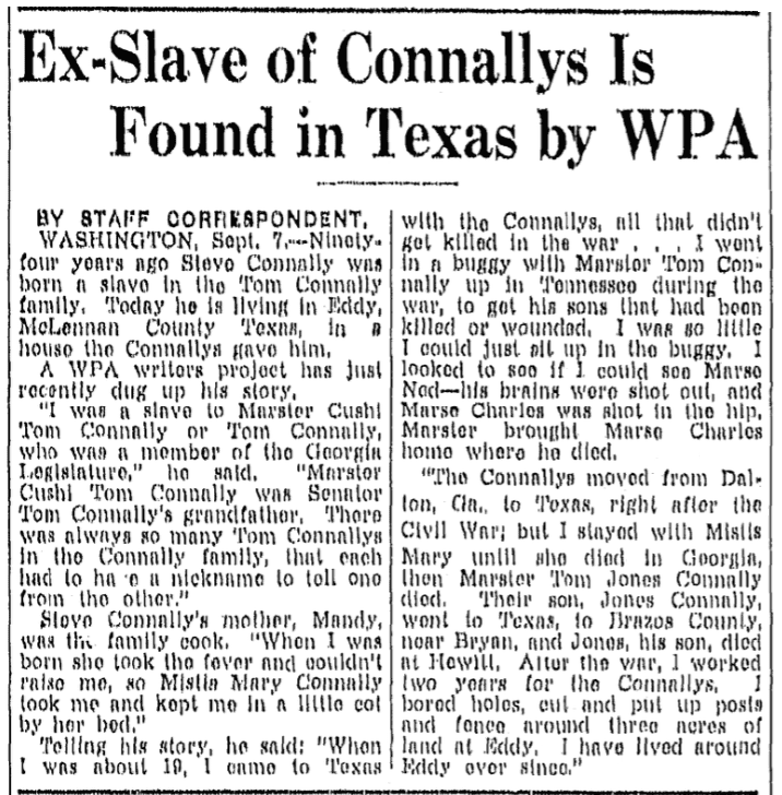 An article about ex-slave Steve Connally, Fort Worth Star-Telegram newspaper article 8 September 1937