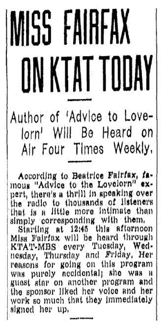 """An article about the very first newspaper advice columnist, """"Beatrice Fairfax,"""" Fort Worth Star-Telegram newspaper article 14 September 1937"""