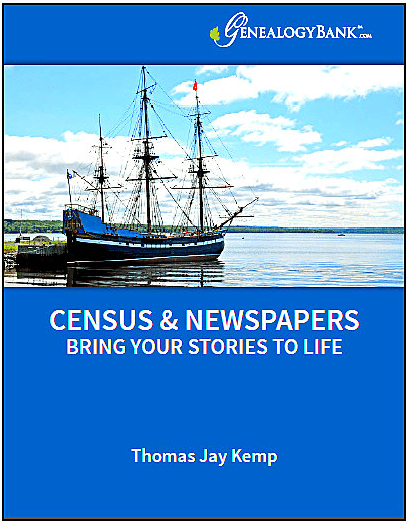 "A photo of the cover of GenealogyBank's ebook ""Census & Newspapers Bring Your Stories to Life"""