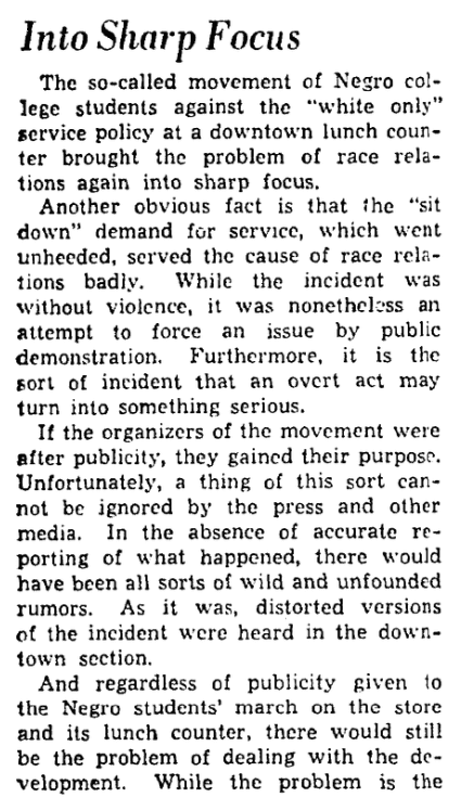 "An article about the ""Greensboro Sit-In"" civil rights protest,Greensboro Record newspaper article 3 February 1960"