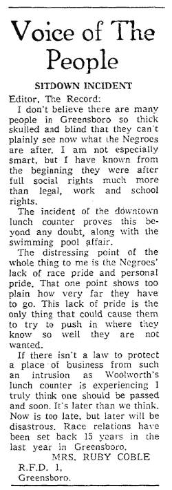 "An article about the ""Greensboro Sit-In"" civil rights protest,Greensboro Record newspaper article 5 February 1960"