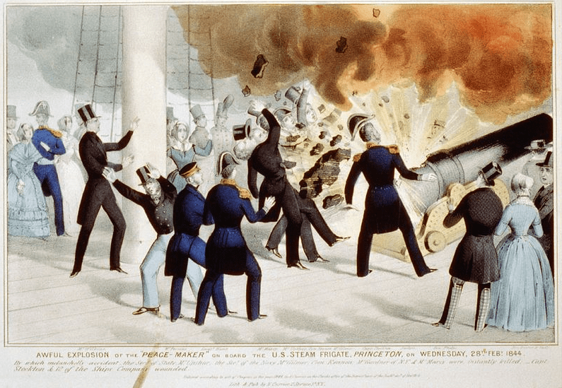 "Illustration: ""Awful explosion of the 'peace-maker' on board the U.S. Steam Frigate Princeton on Wednesday, 1844-02-28,"" by Currier & Ives"