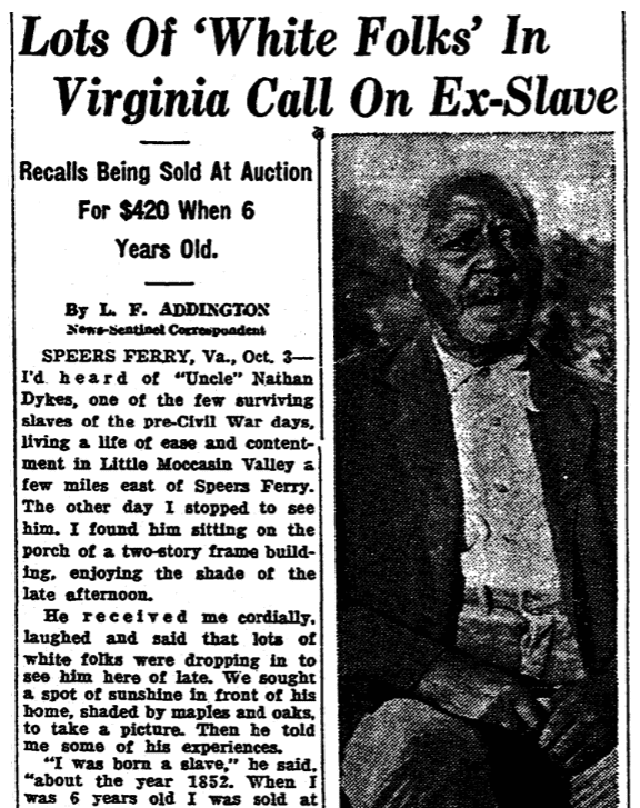 An article about ex-slave Nathan Dykes, Knoxville News-Sentinel newspaper article 4 October 1936
