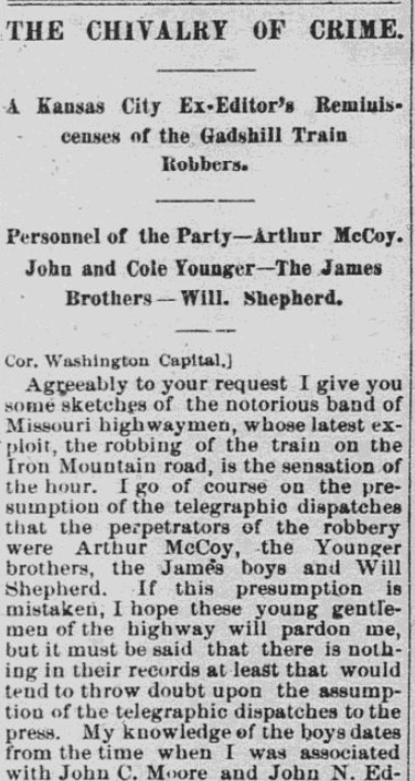An article about Jesse James and his gang, Morning Republican newspaper article 18 February 1874