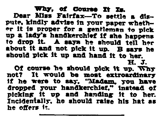 """A newspaper advice column by """"Beatrice Fairfax,"""" New Orleans Item newspaper article 2 March 1910"""