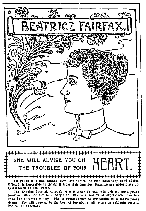 "A newspaper advice column by ""Beatrice Fairfax,"" New York Evening Journal newspaper article 20 July 1898"