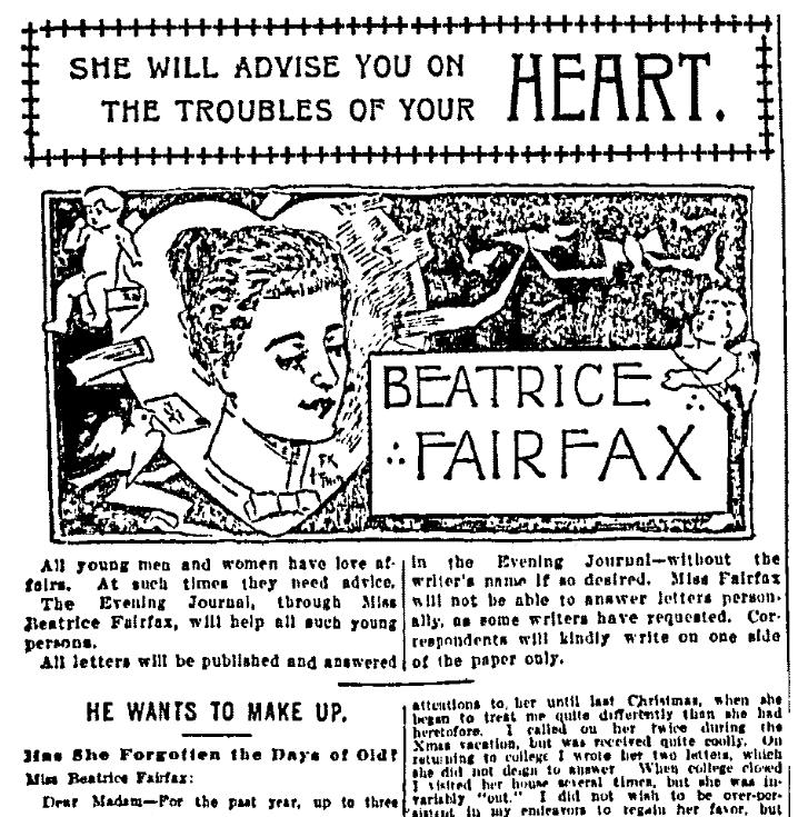 "A newspaper advice column by ""Beatrice Fairfax,"" New York Evening Journal newspaper article 1 August 1898"