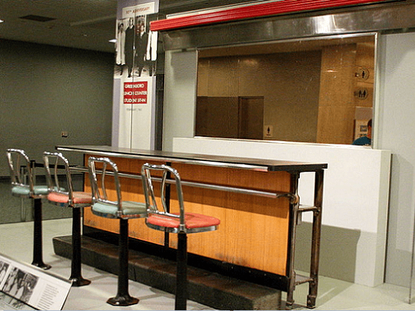 Photo: this four-seat section of lunch counter from the Greensboro, North Carolina, Woolworth is at the Smithsonian Museum in Washington, D.C. The rest sits in its original footprint inside the International Civil Rights Center and Museum in Greensboro, North Carolina. Credit: RadioFan; Wikimedia Commons.