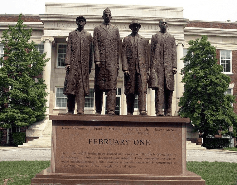 Photo: the February One monument and sculpture stands on North Carolina Agricultural and Technical State University's campus and is dedicated to the actions taken by the Greensboro Four that helped spark the Civil Rights Movement in the South