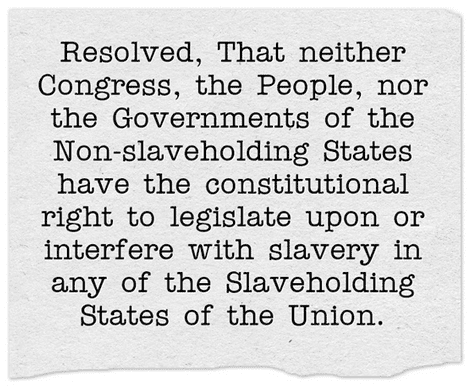 Photo: the resolution adopted by the U.S. House of Representatives on 11 February 1861 guaranteeing non-interference with slavery in any state of the Union.