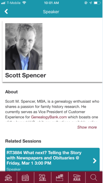 Photo: a screenshot of the RootsTech app, showing information about GenealogyBank's Scott Spencer, Vice President of Customer Experience