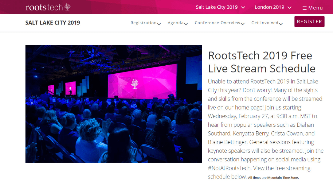 Photo: a screenshot of the RootsTech website, showing the free live stream schedule