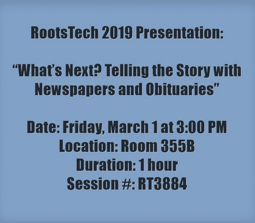 Information about GenealogyBank's RootsTech presentation on Friday, March 1