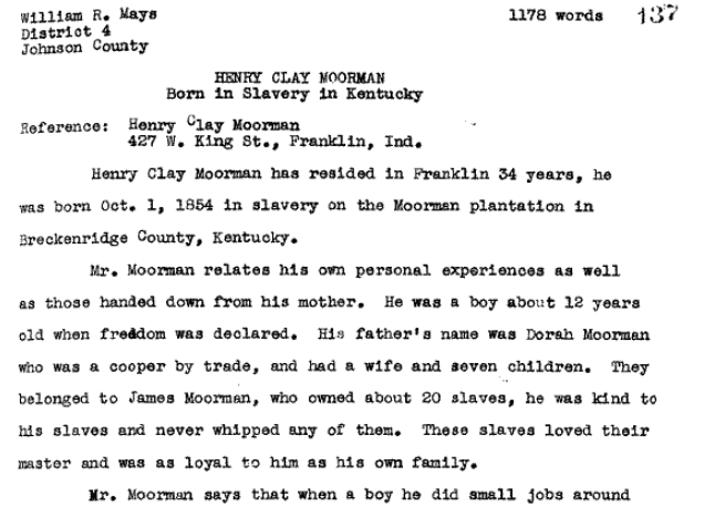 Photo: Henry Clay Moorman slave narrative