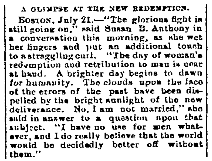 An article about Susan B. Anthony, Sacramento Bee newspaper article 21 July 1883