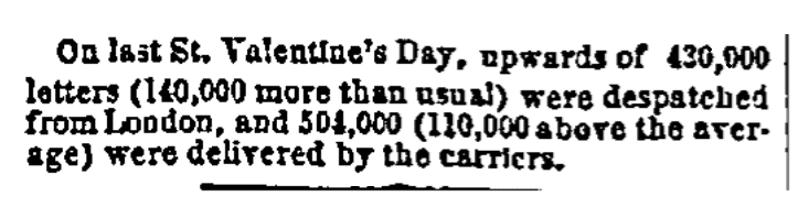 An article about Valentine's Day, San Francisco Bulletin newspaper article 15 April 1864