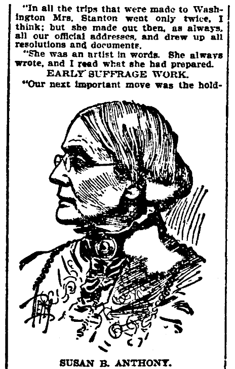 An article about Susan B. Anthony, St. Louis Republic newspaper article 2 November 1902