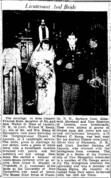 An article about the wedding of Willard Kemp and Eleanor Huse, Stamford Advocate newspaper article 11 January 1945