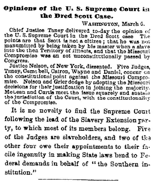 An article about the Dred Scott case, Albany Evening Journal newspaper article 7 March 1857