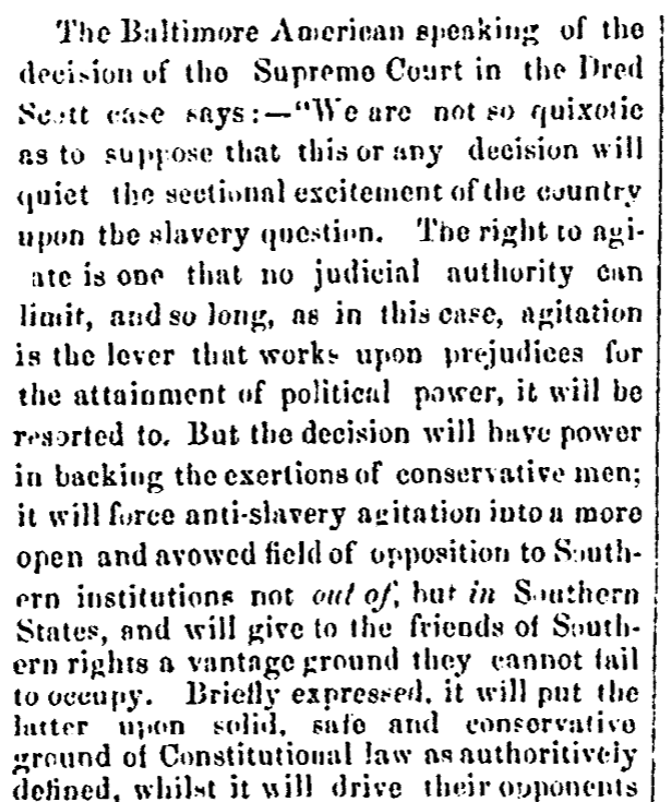 An article about the Dred Scott case, Alexandria Gazette newspaper article 10 March 1857