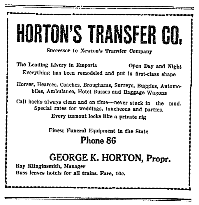 An ad for George Horton's business, Emporia Gazette newspaper advertisement 6 May 1915