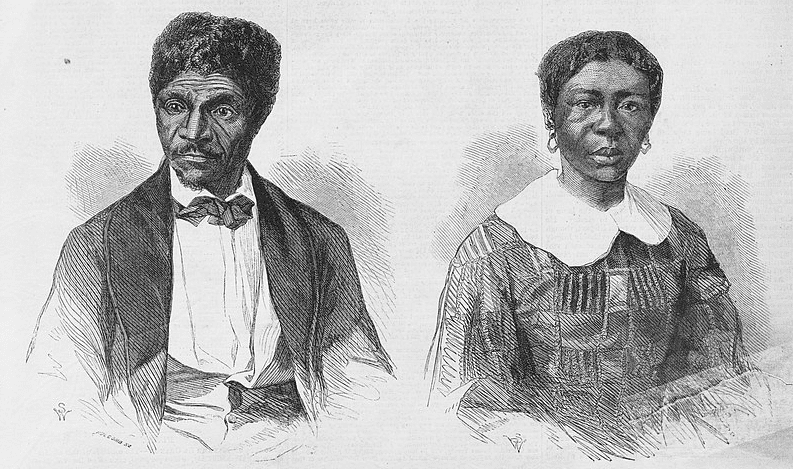 Illustration: Dred and Harriet Scott, wood engravings after photographs by John H. Fitzgibbon, 1857