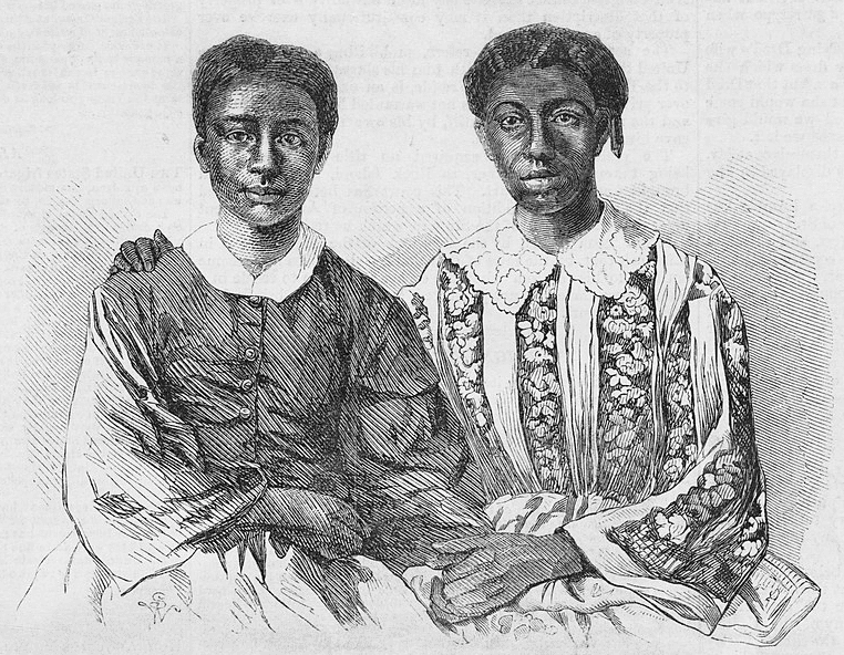 Illustration: Eliza and Lizzie, children of Dred and Harriet Scott, wood engravings after photographs by John H. Fitzgibbon, 1857