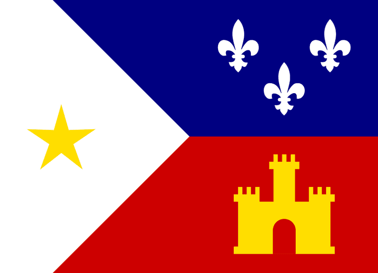 Illustration: the Louisiana Acadian flag, designed by Thomas J. Arceneaux