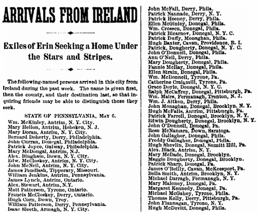 An Irish passengers list, Irish Nation newspaper article 20 May 1882
