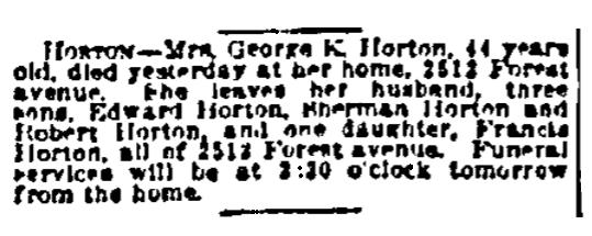An obituary for Marietta Horton, Kansas City Star newspaper article 19 September 1920