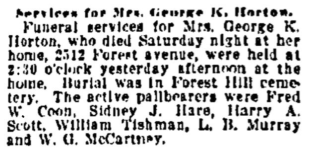 An obituary for Marietta Horton, Kansas City Star newspaper article 21 September 1920