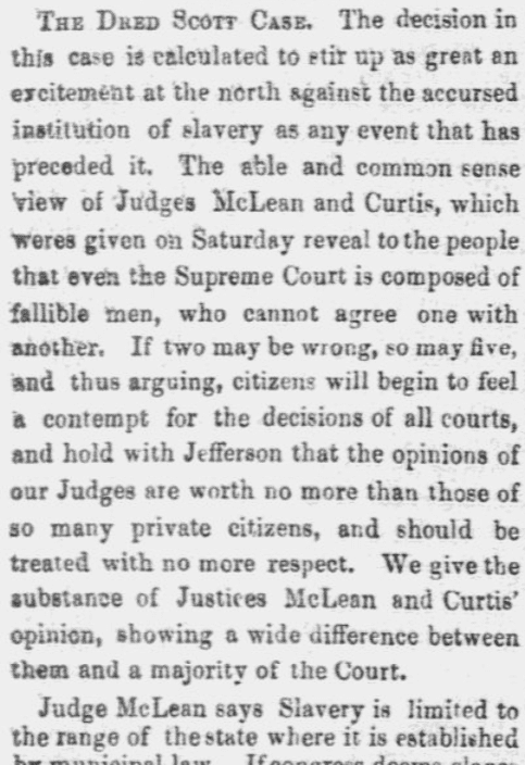 An article about the Dred Scott case, Lowell Daily Citizen and News newspaper article 9 March 1857