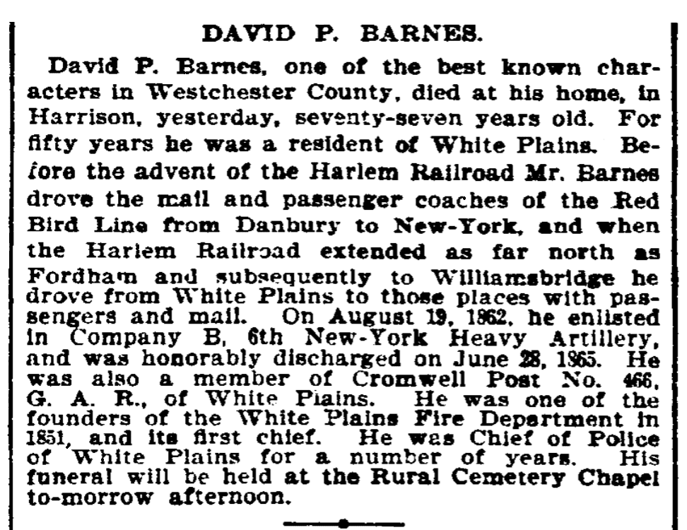 An obituary for David Barnes, New-York Daily Tribune newspaper article 17 January 1900